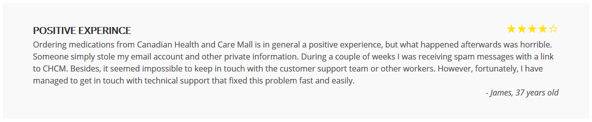 Canadian Health and Care Mall Complaint