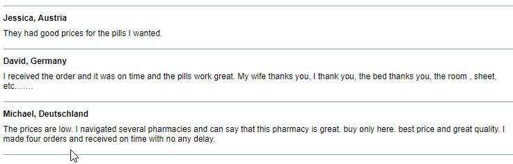 Online Pills Consumer Comments